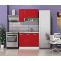 Готова кухня Алис 1 - Червено гланц / Бяло