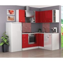Готова ъглова кухня Алис 10 - Червен гланц / Бяло