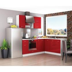 Готов ъглов кухненски комплект Алис 18 - Червен гланц / Бяло