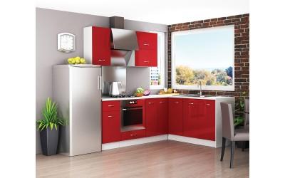 Ъглов кухненски комплект Алис 18 - Червен гланц