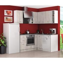 Готова ъглова кухня Хавана 10 - Дъб бланко / Бяло