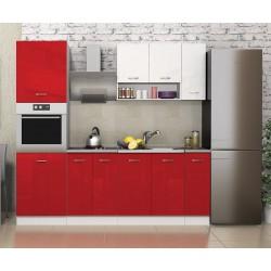 Готова кухня Алис 19 - Червено / Бяло гланц / Бяло