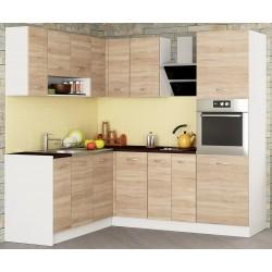 Готов ъглов кухненски комплект Алис 21 - Дъб сонома / Бяло