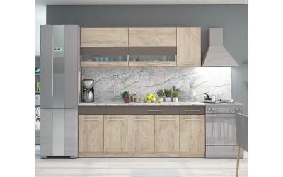 Кухненско обзавеждане Флоренция 2 - 200 см - Дъб елеганс/Тъмно капучино