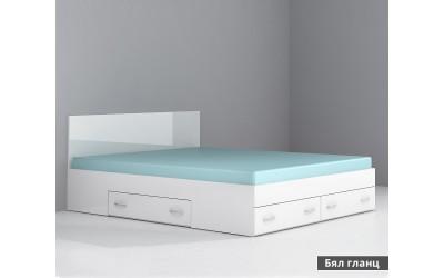 Легло с чекмеджета Аполо 10 - Бяло гланц