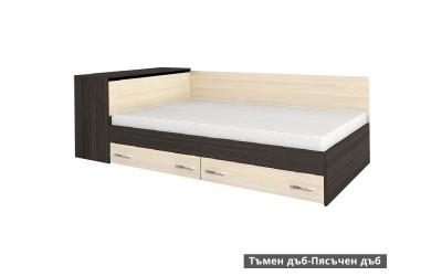Легло Анди 120/190 - Тъмен дъб/Пясъчен дъб