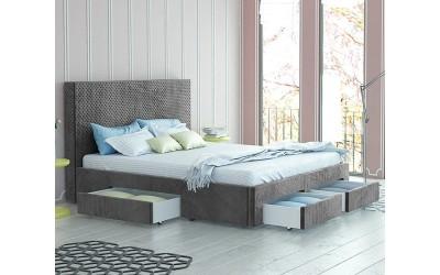 Тапицирано легло Велато - с 4 чекмеджета - Дамаска Велуто Елефант