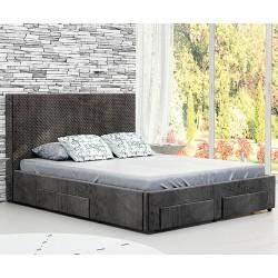 Тапицирано легло Велато - с 4 чекмеджета - Дамаска Велуто Еспресо
