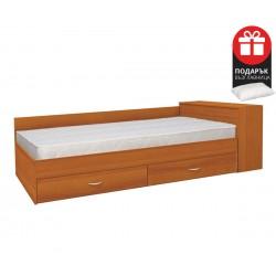 Легло с чекмеджета Мареа 1 82/190 - Светъл орех- с включен матрак и подарък възглавница