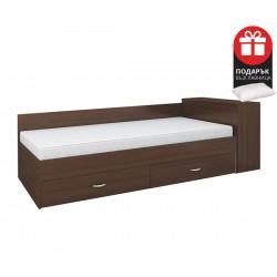 Легло с чекмеджета Мареа 1 82/190 - Венге Амбър - с включен матрак и подарък възглавница