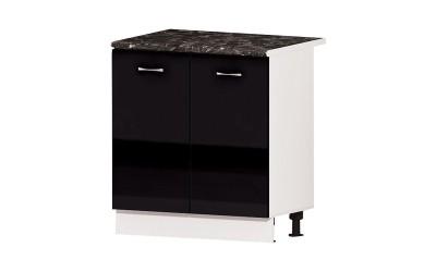 Долен кухненски шкаф Алис B2 с две врати и рафт - черен гланц - 80 см.