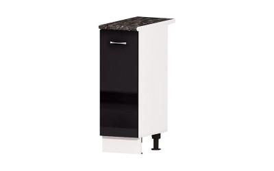 Долен кухненски шкаф Алис B22 с врата и рафт - черен гланц - 30 см.