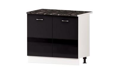 Долен кухненски шкаф Алис B24 с две врати и рафт - черен гланц - 100 см.