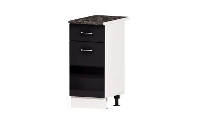 Долен кухненски шкаф Алис B4 с врата и чекмедже - черен гланц - 40 см.