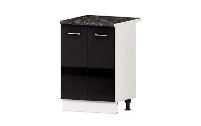 Долен кухненски шкаф Алис B51 с две врати и рафт - черен гланц -  60 см.