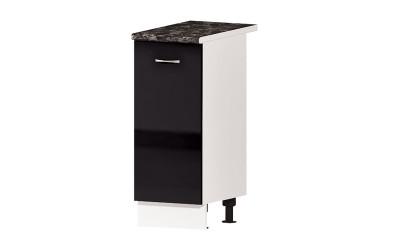 Долен кухненски шкаф Алис B61 с врата и рафт - черен гланц - 35 см.
