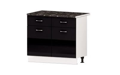 Долен кухненски шкаф Алис B63 с врати и чекмеджета - черен гланц - 100 см.