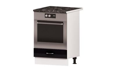 Долен кухненски шкаф за фурна Алис B7с падаща врата - черен гланц - 60 см.