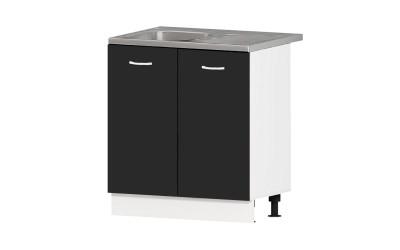 Кухненски шкаф за мивка Алис B3 - черен гланц - 80 см.