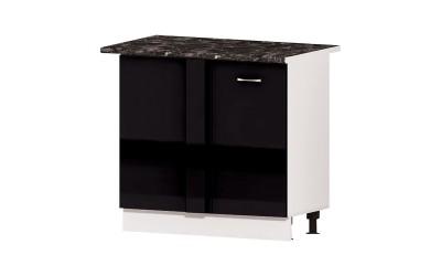 Долен кухненски шкаф за ъгъл Алис B10 с врата - черен гланц - 90 см.