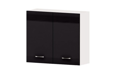 Горен кухненски шкаф Алис G13 с две врати и рафт - черен гланц - 80 см.