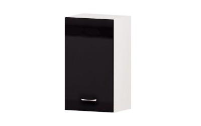 Горен кухненски шкаф Алис G21 с врата и рафт - черен гланц - 40 см.