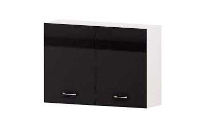 Горен кухненски шкаф Алис G28 с две врати и рафт - черен гланц - 100 см.