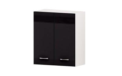 Горен кухненски шкаф Алис G49 с две врати и рафт - черен гланц - 60 см.