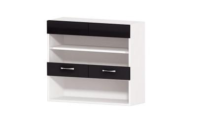 Горен кухненски шкаф Алис G58 с витрини и ниша - черен гланц - 80 см.