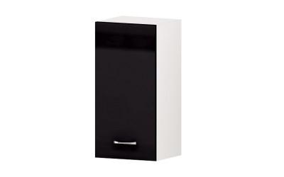 Горен кухненски шкаф Алис G60 с врата и рафт - черен гланц - 35 см.