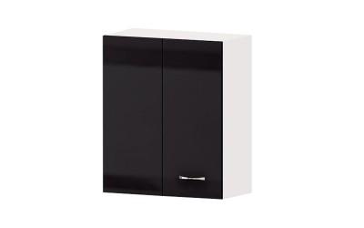 Горен кухненски шкаф Алис G31 с врата за ъгъл - черен гланц - 60 см.