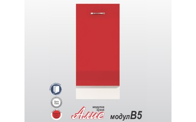 Долен кухненски шкаф Алис B5 с врата и рафт - червен гланц - 40 см.