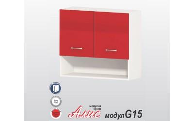 Горен кухненски шкаф Алис G15 с две врати, ниша и рафт - червен гланц - 80 см.