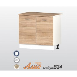 Долен кухненски шкаф Алис B24 с две врати и рафт - дъб сонома - 100 см.