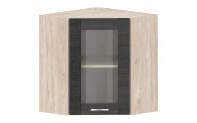 Горен кухненски шкаф Дорина G11 ъглов с една витрина - дъб карбон/рокфорд лайт - 60 см.