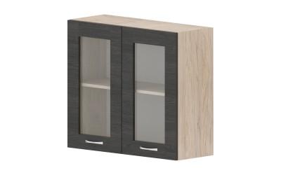 Горен кухненски шкаф Дорина G12 с две витрини - дъб карбон/рокфорд лайт - 80 см.