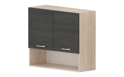 Горен кухненски шкаф Дорина G15 с ниша и две врати - дъб карбон/рокфорд лайт - 80 см.