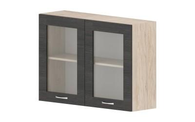 Горен кухненски шкаф Дорина G27 с две витрини - дъб карбон/рокфорд лайт - 100 см.