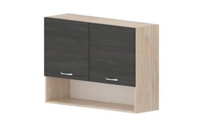 Горен кухненски шкаф Дорина G29 с ниша и две врати - дъб карбон/рокфорд лайт - 100 см.