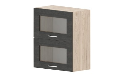 Горен кухненски шкаф Дорина G36 с две клапващи витрини - дъб карбон/рокфорд лайт - 60 см.