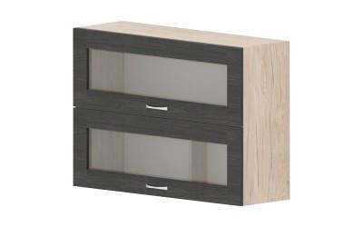 Горен кухненски шкаф Дорина G38 с две клапващи витрини - дъб карбон/рокфорд лайт - 100 см.