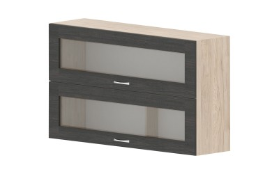 Горен кухненски шкаф Дорина G39 с две клапващи витрини - дъб карбон/рокфорд лайт - 120 см.