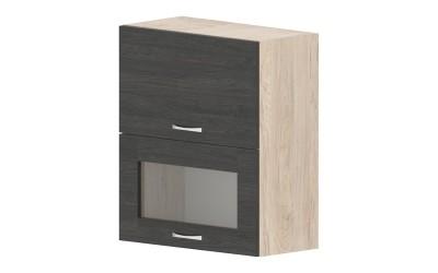 Горен кухненски шкаф Дорина G40 с клапващи врата и витрина - дъб карбон/рокфорд лайт - 60 см.
