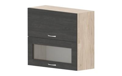 Горен кухненски шкаф Дорина G41 с клапващи врата и витрина - дъб карбон/рокфорд лайт - 80 см.