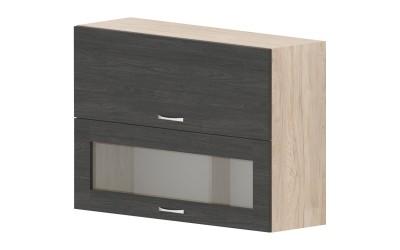 Горен кухненски шкаф Дорина G42 с клапващи врата и витрина - дъб карбон/рокфорд лайт - 100 см.