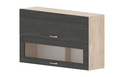 Горен кухненски шкаф Дорина G43 с клапващи врата и витрина - дъб карбон/рокфорд лайт - 120 см.