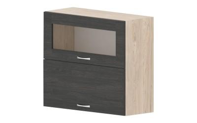 Горен кухненски шкаф Дорина G45 с клапващи витрина и врата - дъб карбон/рокфорд лайт - 80 см.