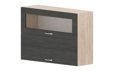 Горен кухненски шкаф Дорина G46 с клапващи витрина и врата - дъб карбон/рокфорд лайт - 100 см.