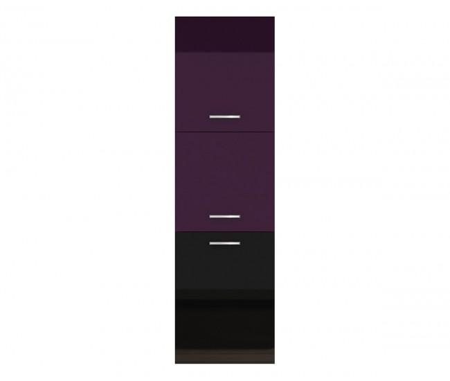 Колонен кухненски шкаф Елинор В66 за вграждане на фурна - дъб карбон/рокфорд лайт - 60 см.