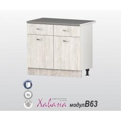 Кухненски долен шкаф Хавана B63 100 см. - дъб бланко